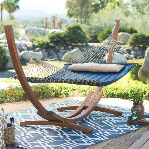 Blue 2-Person Quilted Hammock with Durable Wood Frame Stand