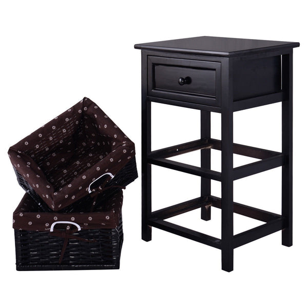 Black Wood 1-Drawer End Table with 2 Storage Baskets