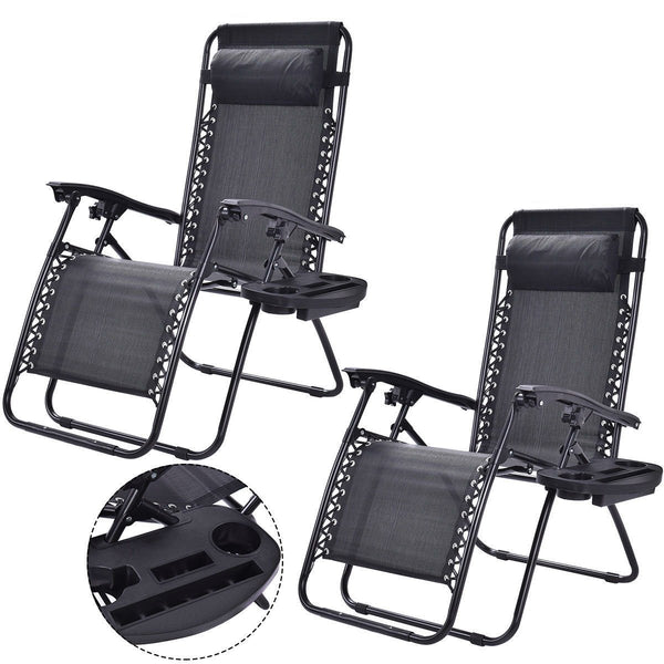 Set of 2 Black Folding Outdoor Zero Gravity Lounge Chair Recliner
