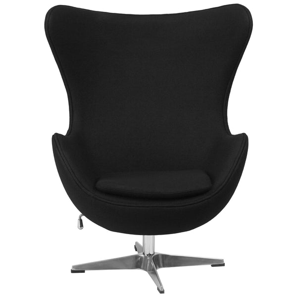 Modern Black Wool Fabric Upholstered Egg Shaped Arm Chair