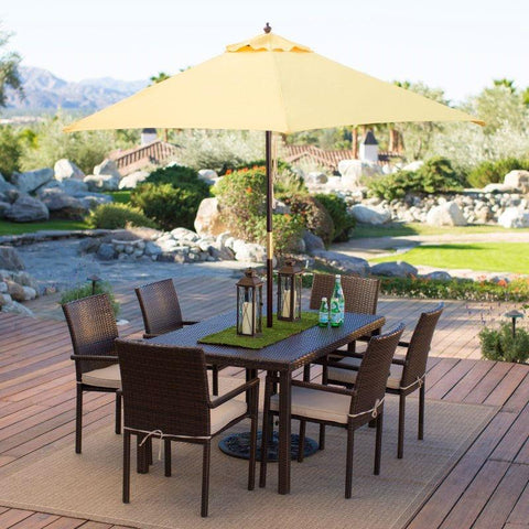 Outdoor Patio 9-Ft Wooden Market Umbrella with Yellow Shade Canopy