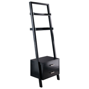 Modern Black 2 Drawer Entryway Shelf Leaning Ladder Bookshelf Bookcase