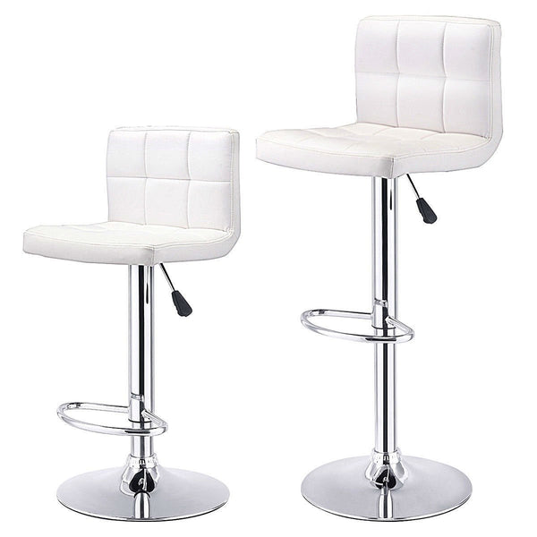 Set of 2 White Faux Leather Swivel Bar Stools Pub Chairs