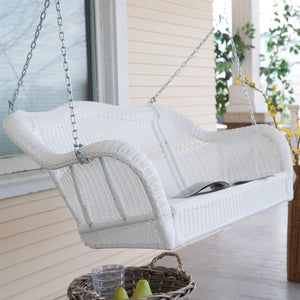 White Resin Wicker Porch Swing with Hanging Chain - 600-lb Weight Capacity