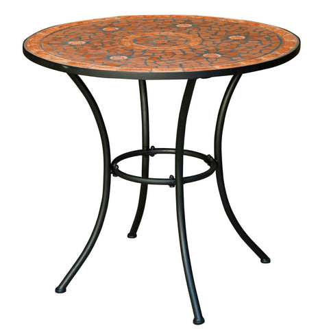 Round Outdoor Patio Bistro Table with Terracotta Mosaic Tiles and Metal Frame