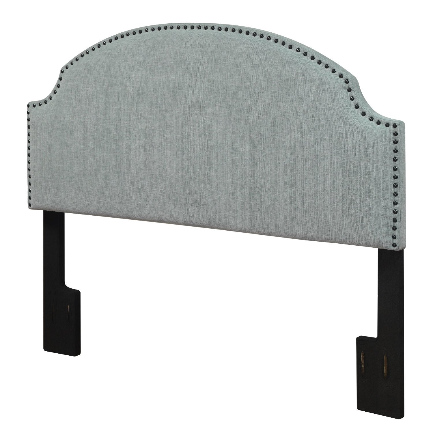 Full / Queen size Nailhead Upholstered Headboard in Soft Turquoise Linen Fabric