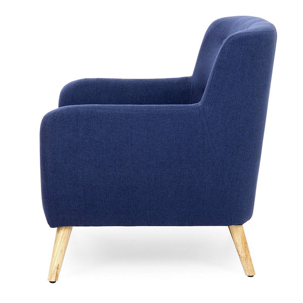 Dark Blue Linen Upholstered Armchair with Modern Mid-Century Style Wood Legs