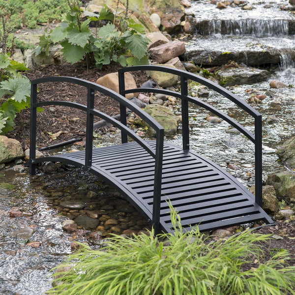 Sturdy 6-Foot Black Metal Garden Bridge with Double Arch Side Rails