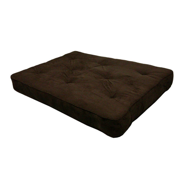 8-inch Thick Full Size Premium Coil Futon Mattress with Chocolate Futon Cover