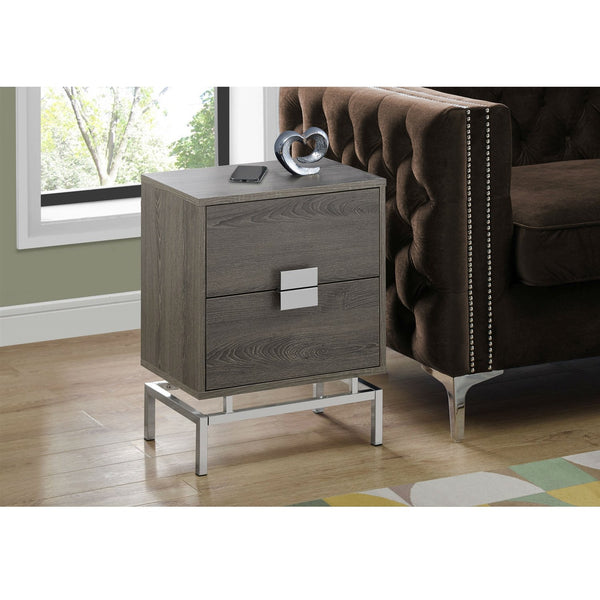 24in Modern 2 Drawer End Table Night Stand Wood Chrome Legs Dark Taupe