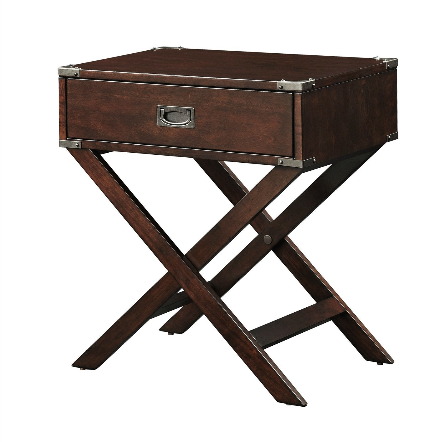Espresso Brown Wood 1-Drawer End Table Nightstand with X Legs