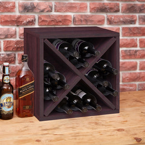 Stackable 12-Bottle Wine Rack in Espresso Brown Wood Finish