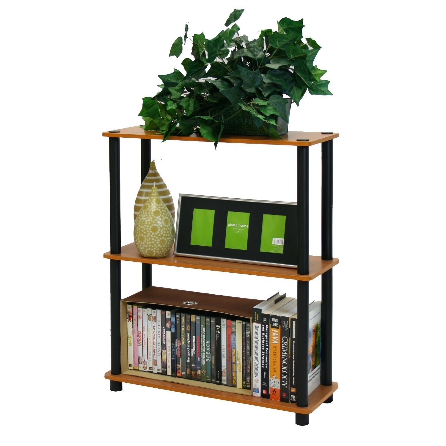 Light Cherry and Black Finish 3-Tier Bookcase