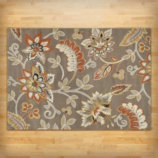 "5'2"" x 7'2"" Tufted Cotton Area Rug Neutral Beige Yellow Orange Floral Pattern"