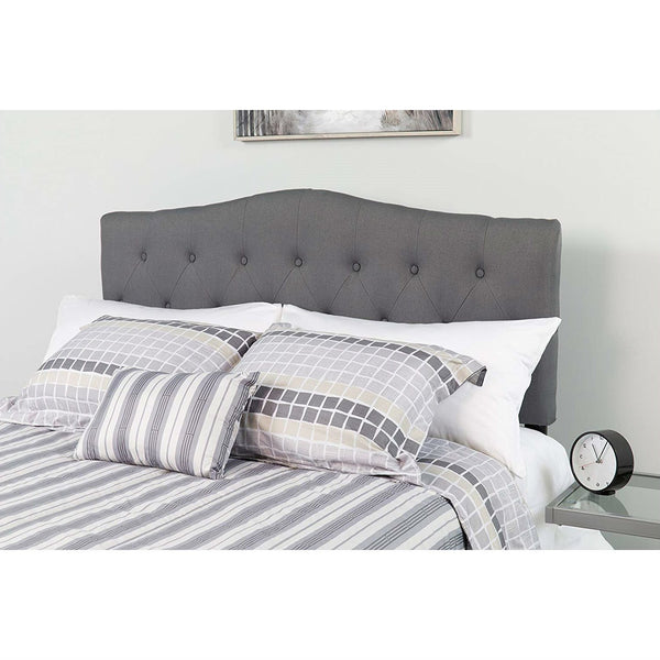 Twin size Dark Grey Upholstered Button Tufted Headboard