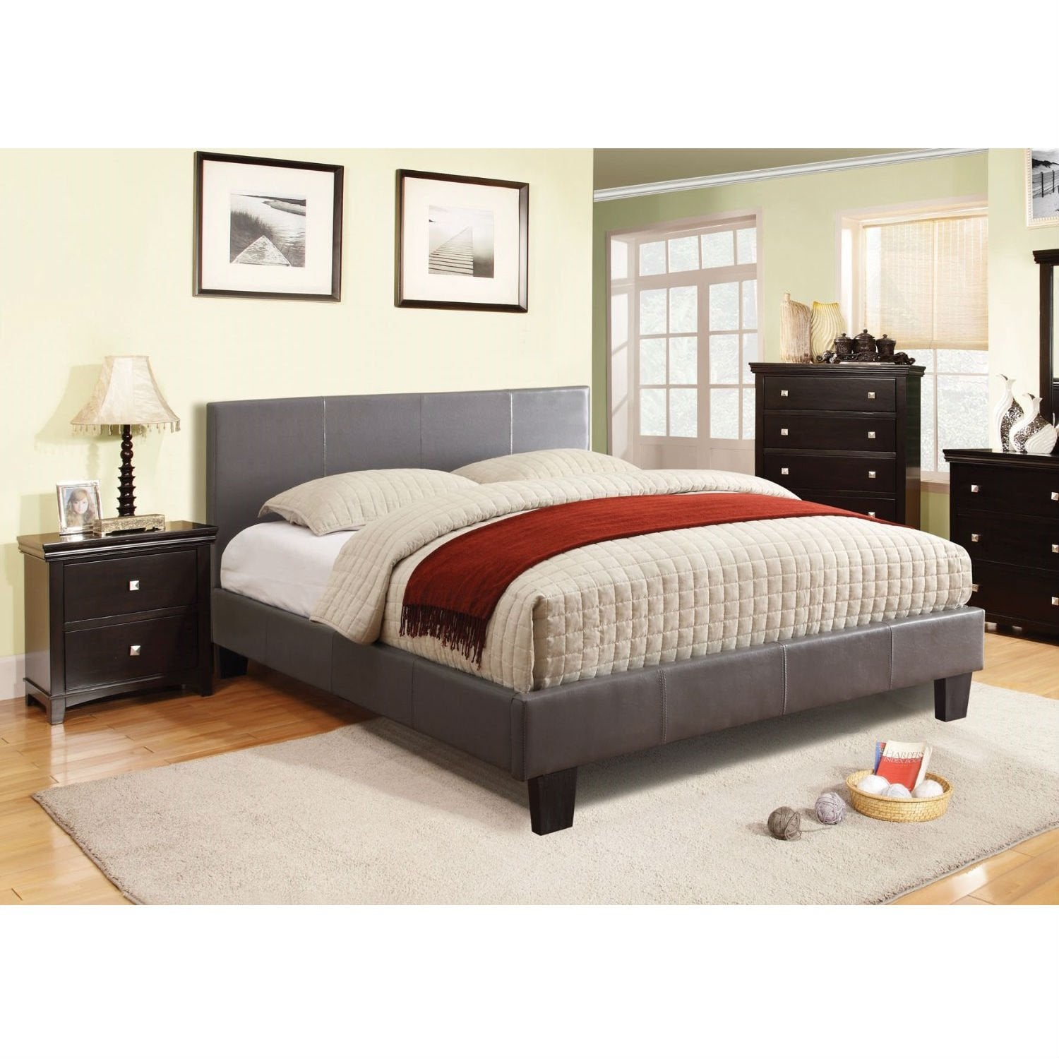 Queen size Platform Bed with Headboard Upholstered in Gray Faux Leather