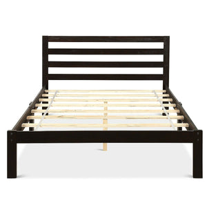 Full size Wooden Platform Bed Frame with Headboard in Espresso