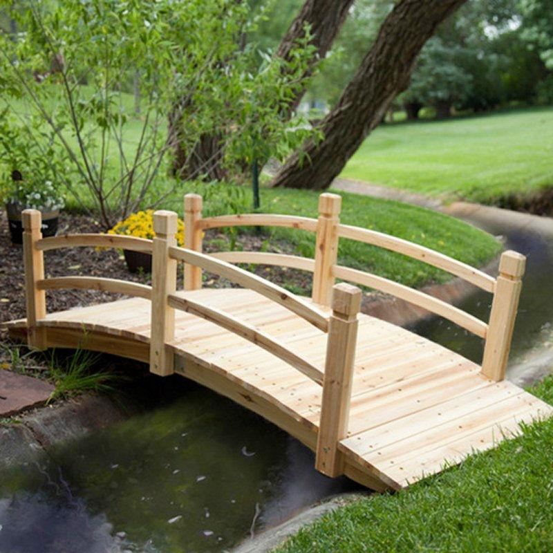8-Ft Freestanding Landscape Garden Bridge in Unfinished Fir Wood