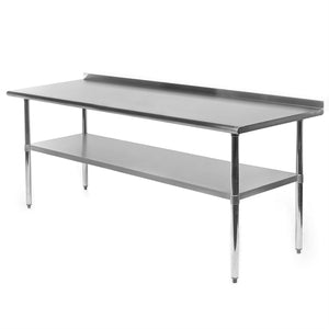 Stainless Steel 72 x 24 inch Kitchen Prep Work Table with Backsplash