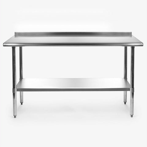 Stainless Steel 60 x 24 inch Heavy Duty NSF Certified  Work Bench Prep Table with Backsplash