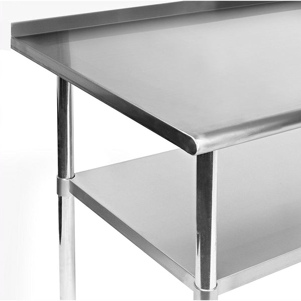 Heavy Duty 48 x 24 inch Stainless Steel Kitchen Prep Work Table with Backsplash