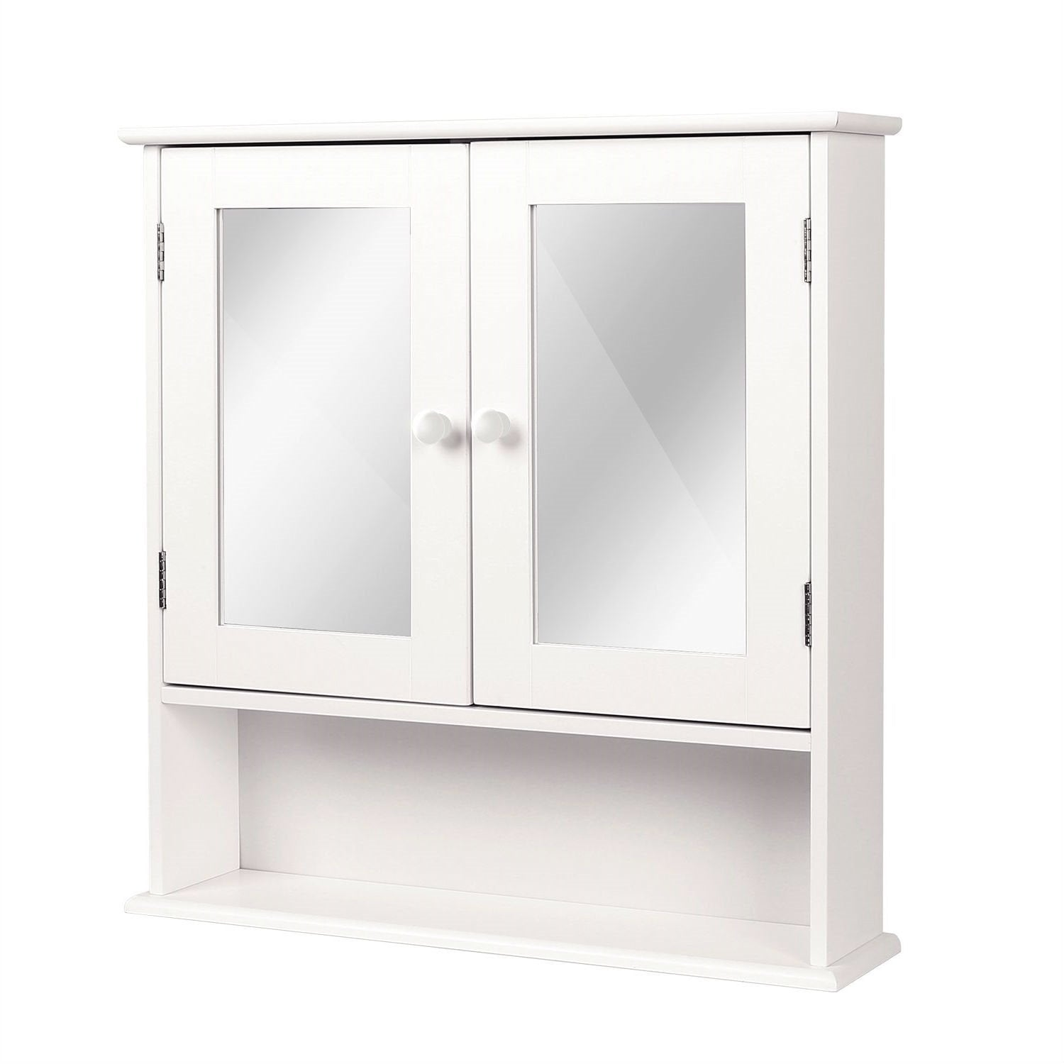 White 2-Door Mirrored Medicine Cabinet with Open Shelf