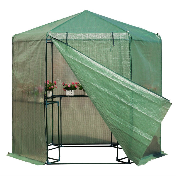 Outdoor Hexagon Greenhouse 6.5 x 7 Ft with Steel Frame PE Cover and Shelves