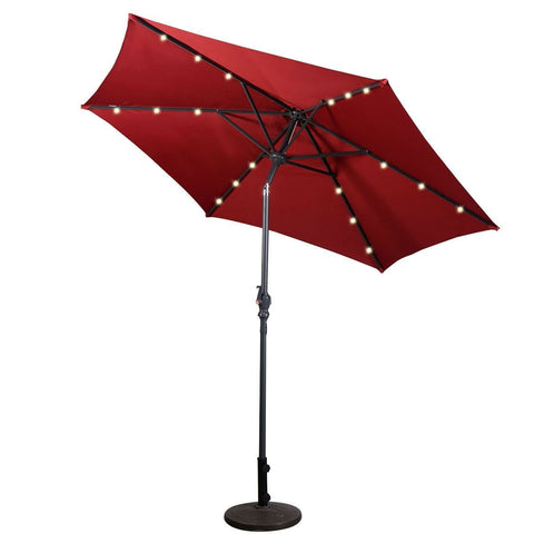 Burgundy 9-Ft Patio Umbrella with Steel Pole Crank Tilt and Solar LED Lights