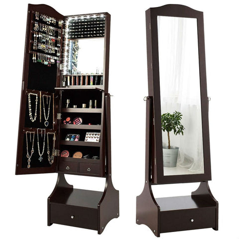 Jewelry Armoire Full Length Cheval Mirror with Tilt in Coffee Brown Wood Finish