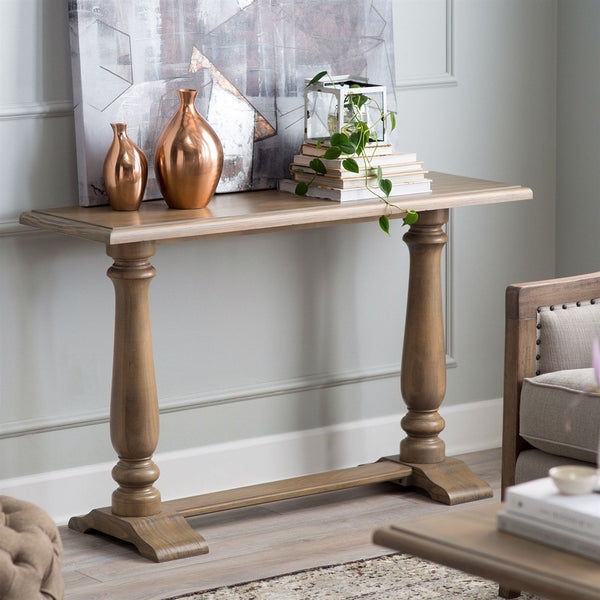 Driftwood Contemporary Classic Console Sofa Table with Pedestal Legs