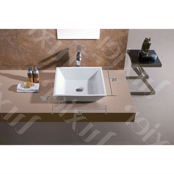 Contemporary White Ceramic Porcelain Vessel Bathroom Vanity Sink - 16 x 16-inch