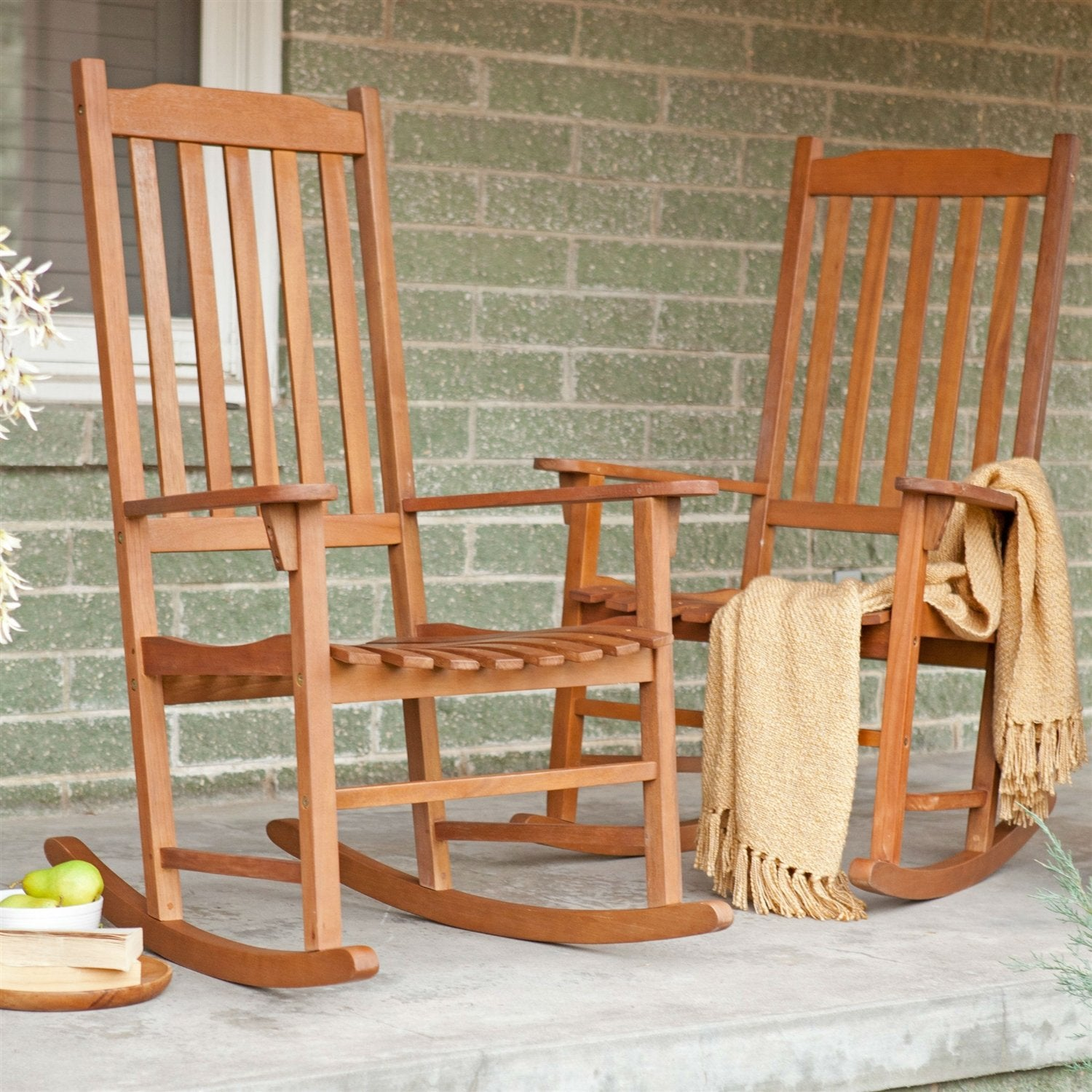 Set of 2 - Indoor/Outdoor Patio Porch Natural Slat Rocking Chairs