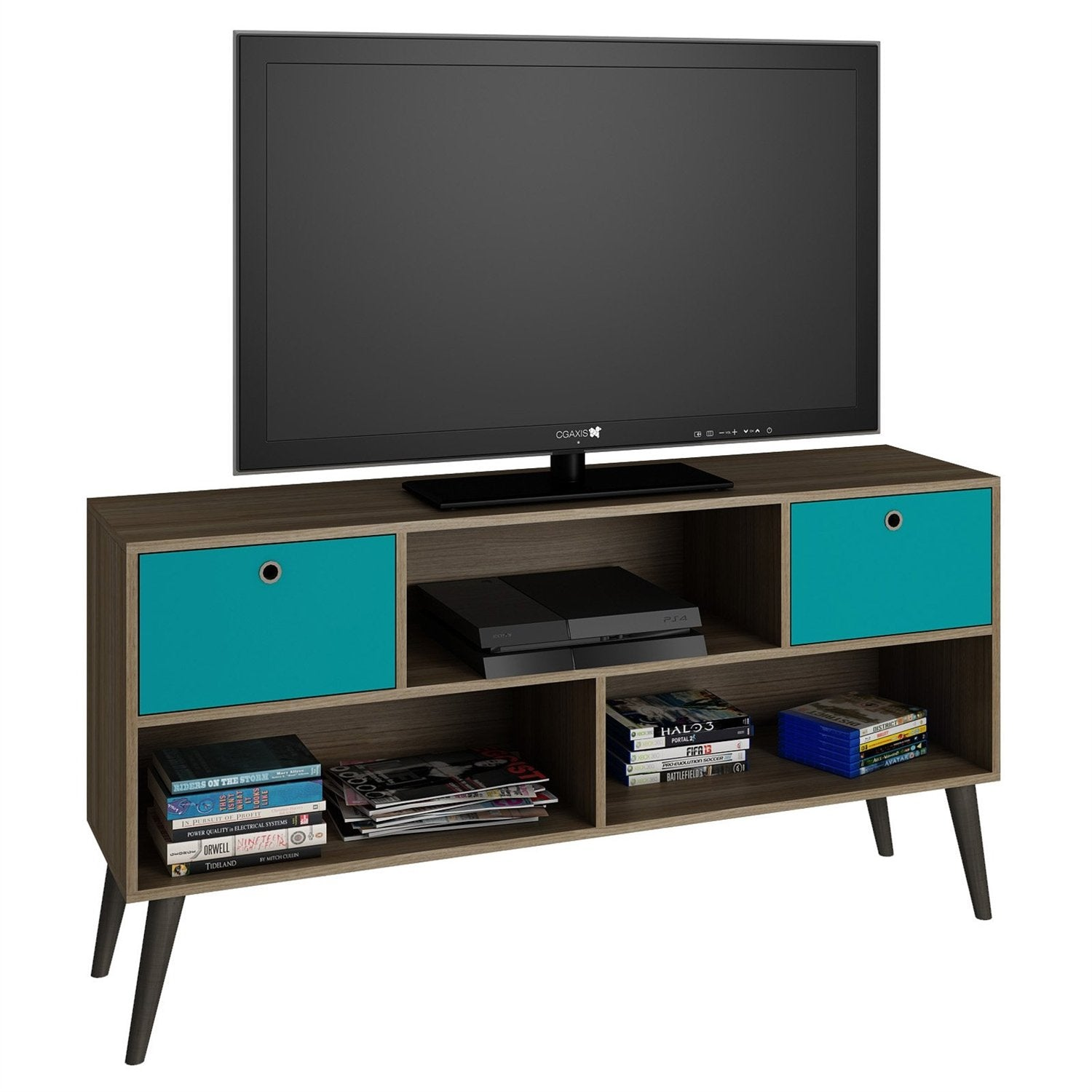 Modern Mid-Century TV Stand Entertainment Center in Oak Aqua Grey Wood Finish
