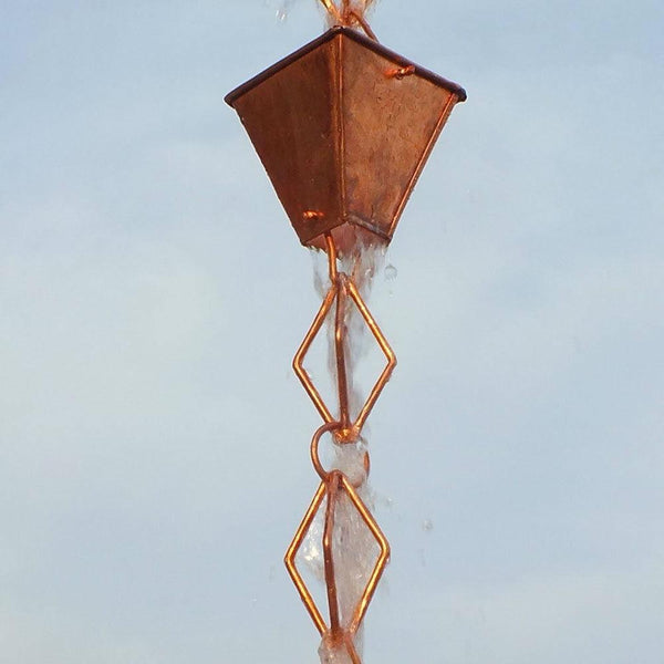 Pure Copper 8.5 Ft Rain Chain with Pyramid Square Cups and Diamond Link Chain