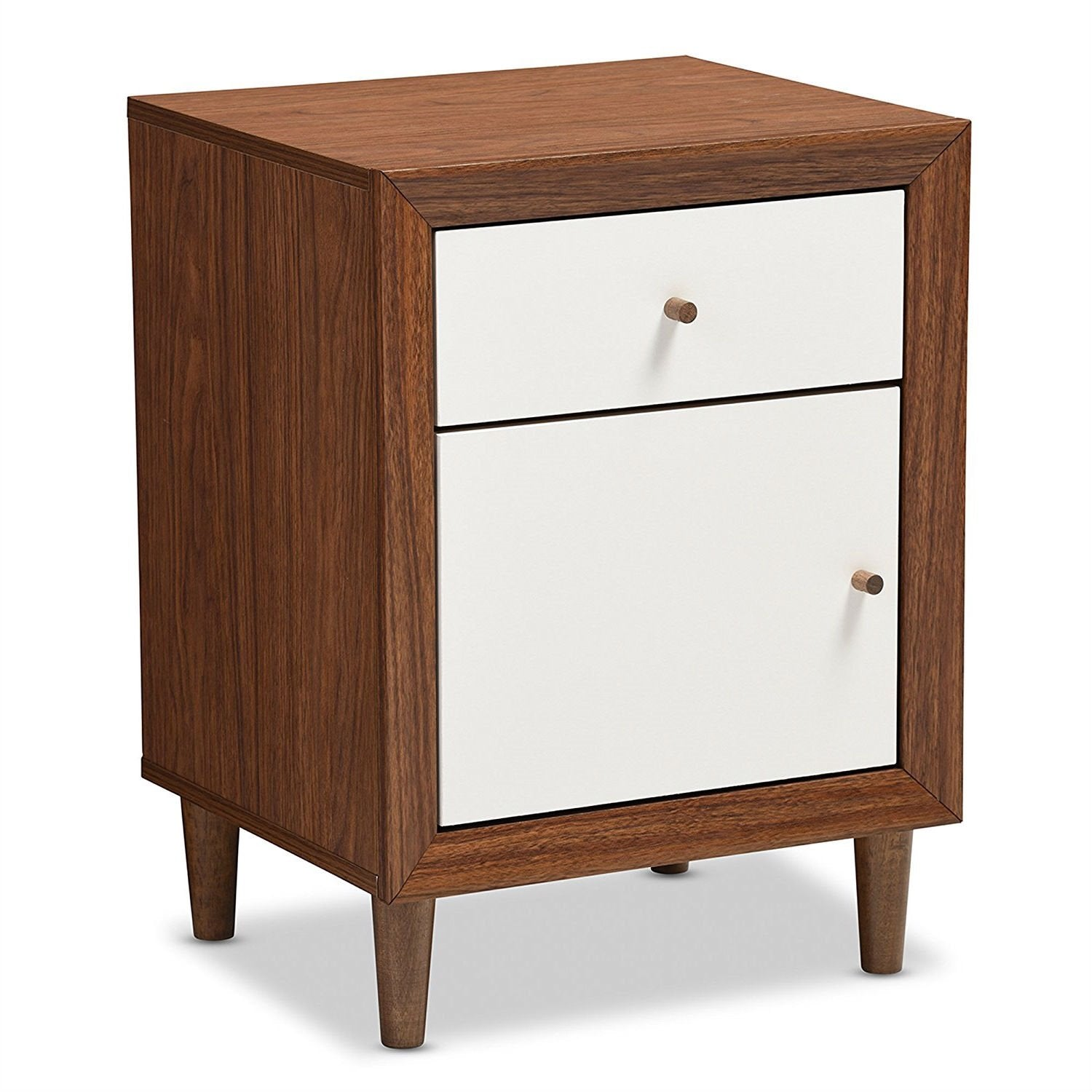 Modern Mid Century Style End Table Nightstand in White and Walnut Finish