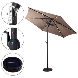 Tan 9-Ft Patio Umbrella with Steel Pole Crank Tilt and Solar LED Lights