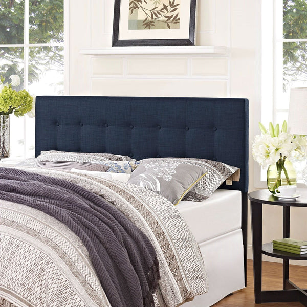 Full size Navy Fabric Modern Upholstered Headboard
