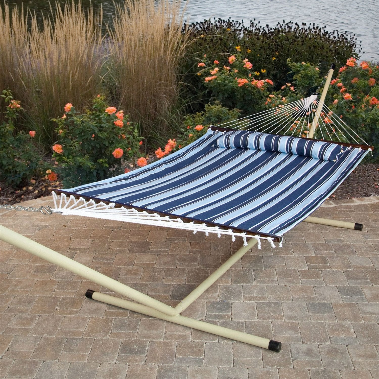 Blue Navy Stripe Quilted 13-Ft Hammock with Heavy Duty Bronze Metal Stand
