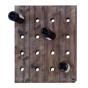 Rustic Wood Wall Hanging 16-Bottle Wine Rack