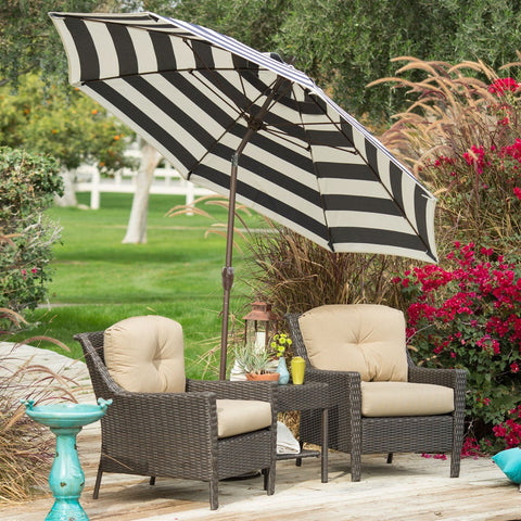 Stylish 9-Ft Patio Umbrella with Crank and Tilt in Dark Navy and White Stripe