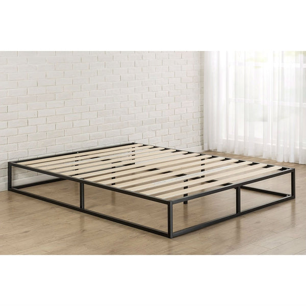 Queen size Modern 10-inch Low Profile Metal Platform Bed Frame with Wood Slats