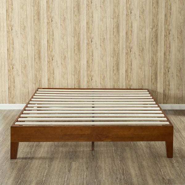 Queen size Solid Wood Low Profile Platform Bed Frame in Cherry Finish