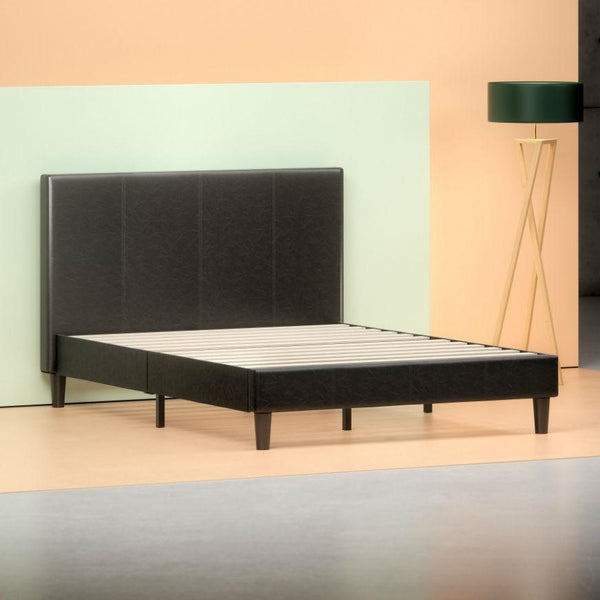 Queen Espresso Faux Leather Platform Bed Frame with Headboard