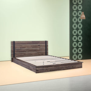 Queen size Farmhouse Wood Industrial Low Profile Platform Bed Frame