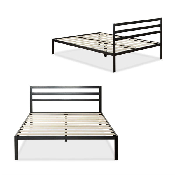 Queen Metal Platform Bed Frame with Headboard and Wood Slats