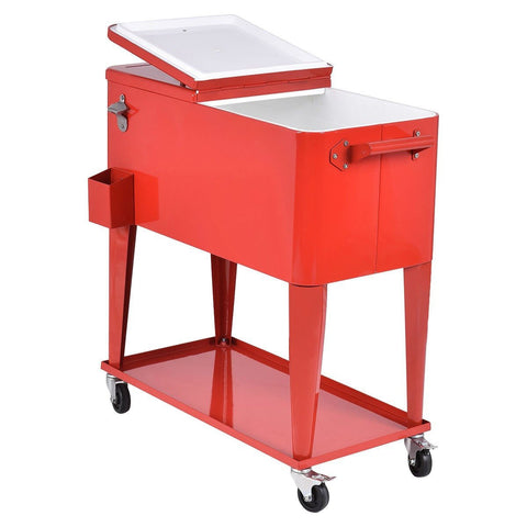 80 Quart Red Sturdy Rolling Steel Construction Cooler