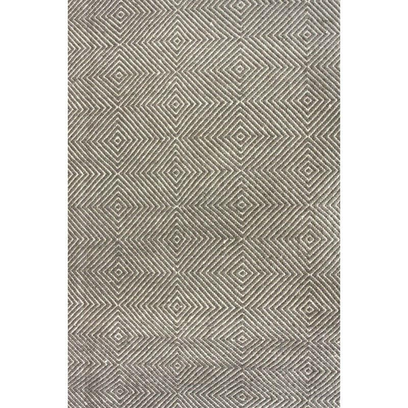 Gray 4' x 6' Flat Woven Hand Made Wool/Cotton Gray Area Rug