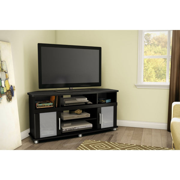 Black Corner TV Stand with Frosted Glass Doors