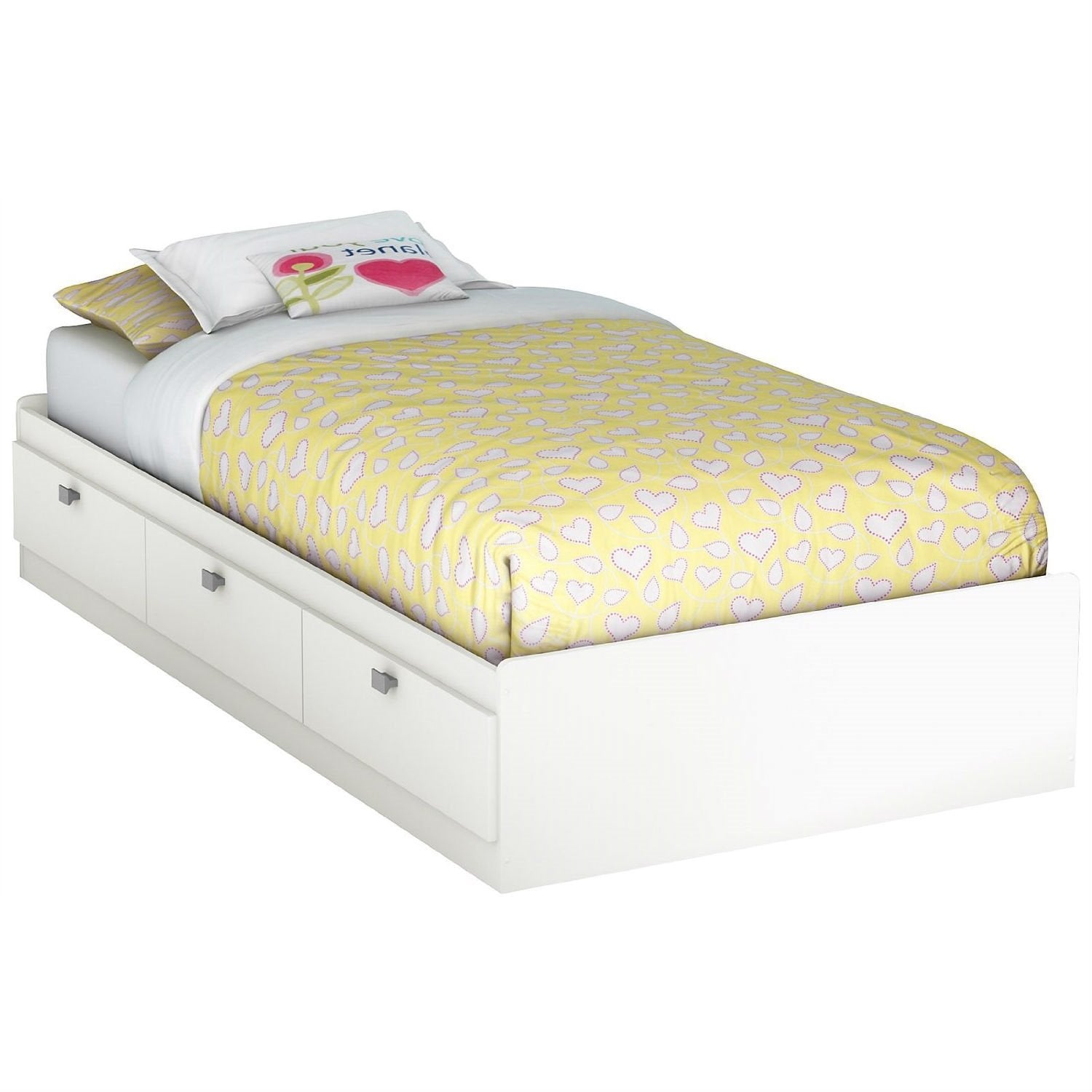 Twin size White Platform Bed for Kids Teens Adults with 3 Storage Drawers