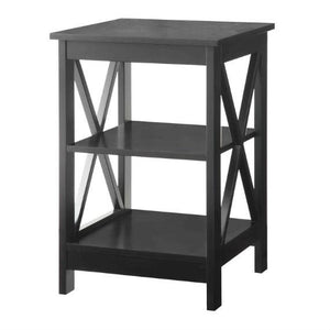 Black Wood X-Design End Table Nightstand with 3 Open Shelves